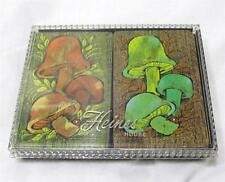 Retro Vintage Heines House Cased Double Deck Of Mushroom Playing Cards