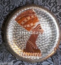 Vintage Egyptian Queen Cleopatra Head Engraved Copper Wall Hanging Plate Plaque