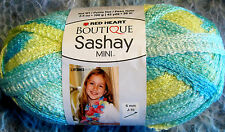 RED HEART BOUTIQUE SASHAY BREEZY-SHADES OF SOFT TURQUOISE &  YELLOW-3.5 OZ/100GM