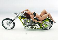 Custom Harley Davidson Chopper with Sexy Bikini Girl   Poster Print
