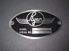 """Ryan Aircraft DEA Required """"Aircraft Identification Data Plate"""" Etched Stainless"""