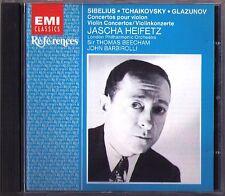 Jascha HEIFETZ: SIBELIUS TCHAIKOVSKY GLAZUNOV Violin Concerto BEECHAM BARBIROLLI