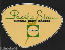 """Pacific Star Surfboard By Dunlop"" Retro Sticker Decal 1960s Longboard Surfing"