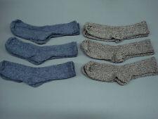 NWOT Women's Merino Wool Blend Ribbed Socks Shoe Size 6-9 Blue/Brown 6 Pair