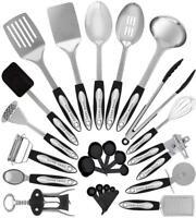 Stainless Steel Kitchen Utensil Set - 25 Cooking Utensils - Nonstick...