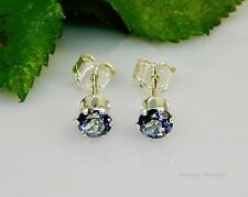 SALE! 4mm Round Genuine Tanzanite Blue Mystic Topaz Sterling Silver Earrings