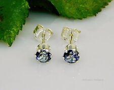 SALE! 4mm Round Genuine Tanzanite Blue Mystic Topaz Sterling Silver Earrings