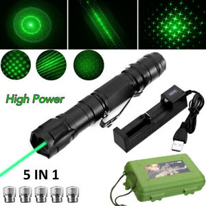 50miles Green Laser Pointer Pen Rechargable Lazer Visible Beam+Battery Charger