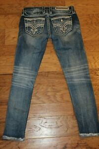 ROCK REVIVAL JELINA  Mid Rise Ankle Skinny Jeans Size 26 Bling