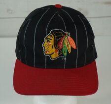 Vintage Chicago Blackhawks NHL Starter Pinstripe Snapback Hat Cap Black Red