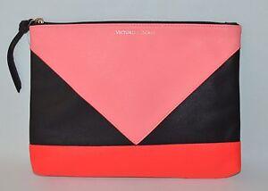 VICTORIA'S SECRET CORAL BLACK GEO CLUTCH MAKEUP BEAUTY BAG POUCH CASE COSMETIC