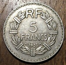 PIECE DE 5 FRANCS LAVRILLIER 1933 EN NICKEL (420)