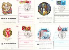 UdSSR, Ganzsachen, Postkarten mit originalen Marken und Sonderstempelung.