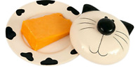 Cat Lidded Butter Dish Cheese Server Novelty Cat Shaped Cermaic Cream & Black