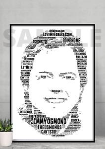 Jimmy Osmond Tribute Songs Word Art Portrait Memorabilia/Collectable/Gift