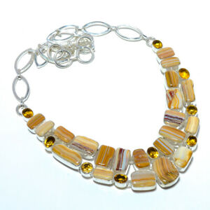 """Bumble Bee Jasper- Indonesia & Citrine 925 Sterling Silver Necklace 17.99"""" A212"""