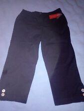 JM COLLECTION WOMEN'S PETITE CROPPED CAPRI BLACK PANTS 10P NEW