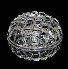 Vintage heavy sparkly crystal round lidded trinket powder bowl