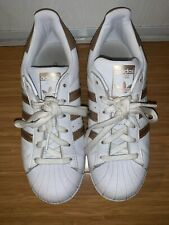 Adidas Superstar White Gold Metallic Shell Toe Sneakers Shoes Women's 6