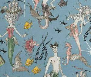 Alexander Henry The Ghastlies Ghantis Ghastlie Slate Blue Cotton Fabric BTY