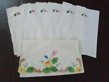 Antique/Vintage Hand Applique & Embroidery Madeira Linen pocket & napkins