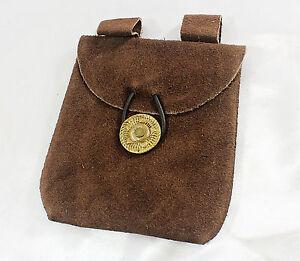 Medieval Renaissance Leather Brown Suede Coin Belt Pouch -- bag/purse/pack/larp
