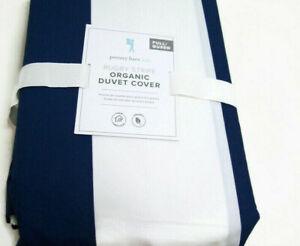 Pottery Barn Kids Navy Blue White Rugby Stripe Cotton Full Queen Duvet Cover New
