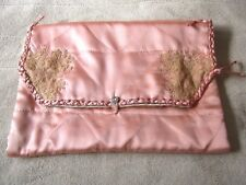 Beautiful Peach Satin Quilted ~Needle Run Lace~Hand Stitched Lingerie Stocking B
