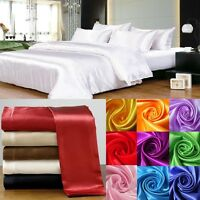 SUPER SOFT SOLID 1000TC HOTEL SATIN SILK 3 PIECE DUVET SET CHOOSE SIZE &-COLOR