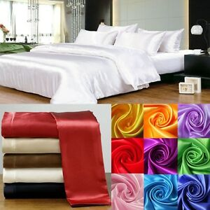 """20"""" deep Pocket  1000TC HOTEL SATIN SILK 1 PC FITTED SHEET CHOOSE SIZE & COLOR"""