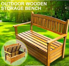 NEW Park Bench Seat Outdoor Chair w/ under seat storage FIR wood 2 seats garden