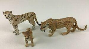 Schleich Leopard Cheetah Figures Family Jungle Cats Realistic 3pc Lot PVC 2006
