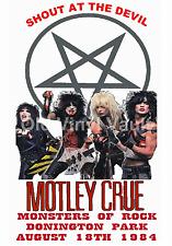 Motley Crue Concert Poster Donington Park,UK Monsters Of Rock 1984 A3 Repro