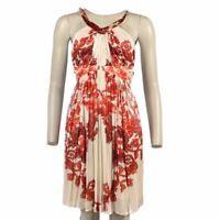 ROBERTO CAVALLI Dress Off White Red Floral Halterneck Size XS WW 374