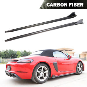 Fit For Porsche 718 Boxster Cayman Side Skirt Bodykit Spoiler Carbon Fiber 16-19