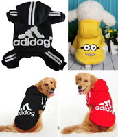 Puppy Small Large Pet Dog Cat Adidog Clothes Jacket Hoodie Shirt Dress Jumpsuit