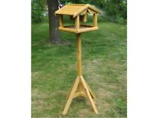 WOODEN BIRD TABLE WITH BUILT IN FEEDER LARGE FREE STANDING BIRDS FEEDING STATION
