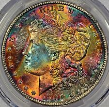 1900 Morgan Silver Dollar PCGS MS65 Monster Rainbow Tone Colors - Scare for date