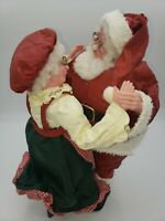 VINTAGE SILVESTRI Fabric Mache Christmas Decor Santa & Mrs Clause Dancing 11""