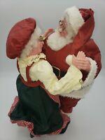 "VINTAGE SILVESTRI Fabric Mache Christmas Decor Santa & Mrs Clause Dancing 11"""