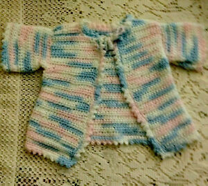 NEW Sweater For Teddy Bear, Doll, Premie Baby Handmade Crochet Pink=Blue=White
