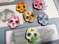 5 Skull Cabochons Wood Sugar Skull Flatbacks Day of the Dead Assorted