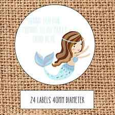 Personalised mermaid party bag stickers thank you sweet cone