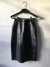 Vixen Vintage Black Leather Pencil Skirt Knee Length Waist Cinching Fetish 6