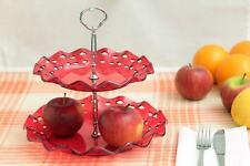Alzata Per Frutta 2 Piani Tonda In Plastica Alzatina Alimenti Max Rosso