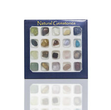 20 Gemstone Collection Box Natural Variety Polished Rock Bead Reiki Healing