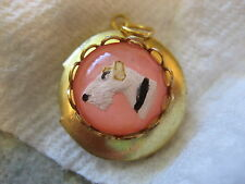 Fox Terrier Dog Locket reverse carved and painted vintage glass intaglio !