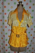 FASHION MODEL Jr women L Yellow White Striped Short SLEEVE Chic BLOUSE TOP EUC