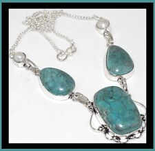 NEW - TURQUOISE WITH PEARL ACCENT SILVER PLATED STATEMENT NECKLACE