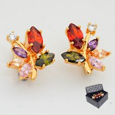24K Gold Filled Colorful Cubic Zircon Women's Stud Earrings Gift Box Packing